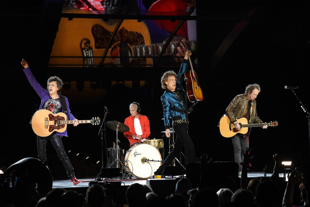 CHICAGO, ILLINOIS - JUNE 21: (L-R) Ronnie Wood, Charlie Watts, Mick Jagger, and Keith Richards perform onstage as The Rolling Stones kick off the North American run of their 'NO FILTER' Tour at Soldier Field in Chicago, IL on Friday, June 21, 2019 (Photo by Kevin Mazur/Getty Images for RS)