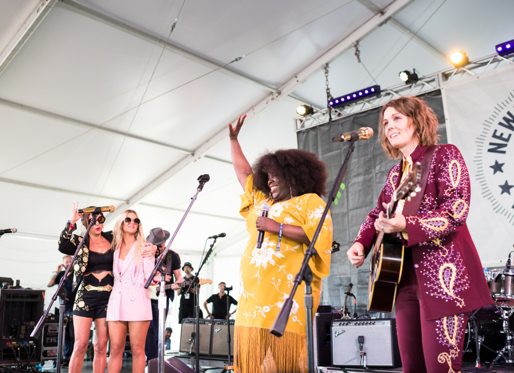 Yola performs with the Highwomen at Newport Folk Festival in Newport, Rhode Island. Photograph by Jacob Blickenstaff