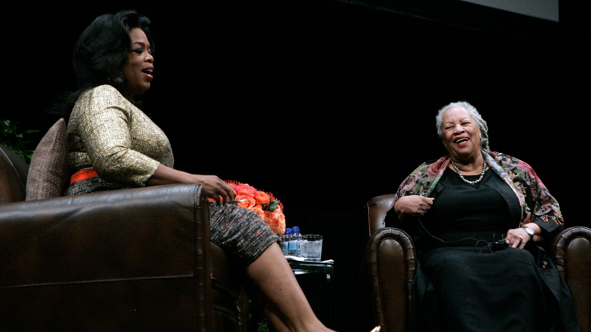 CHICAGO - OCTOBER 20: Nobel and Pulitzer Prize winning author Toni Morrison (R) shares a laugh with talk show queen Oprah Winfrey during the annual Carl Sandburg Literary Awards Dinner October 20, 2010, in Chicago, Illinois. The Carl Sandburg Literary Award is presented each year to an author whose significant body of work has enhanced the public's awareness of the written word. Photo by Frank Polich/Getty Images)