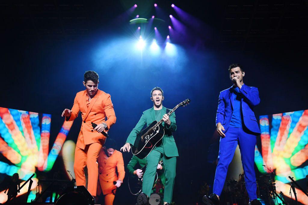 NEW YORK, NEW YORK - AUGUST 30: Nick Jonas, Kevin Jonas and Joe Jonas perform onstage during Jonas Brothers: