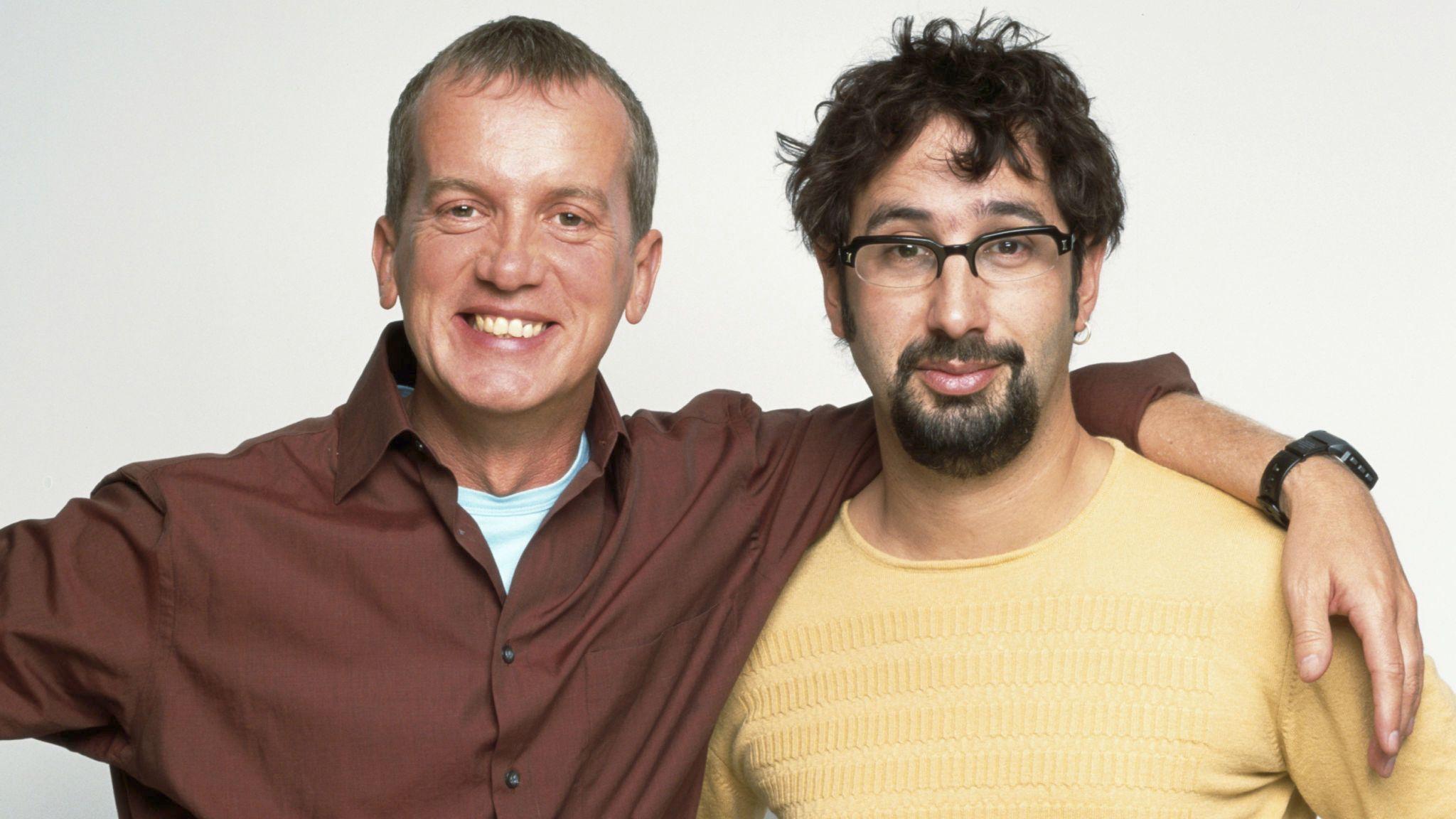 British comedians Frank Skinner and David Baddiel, circa 2000