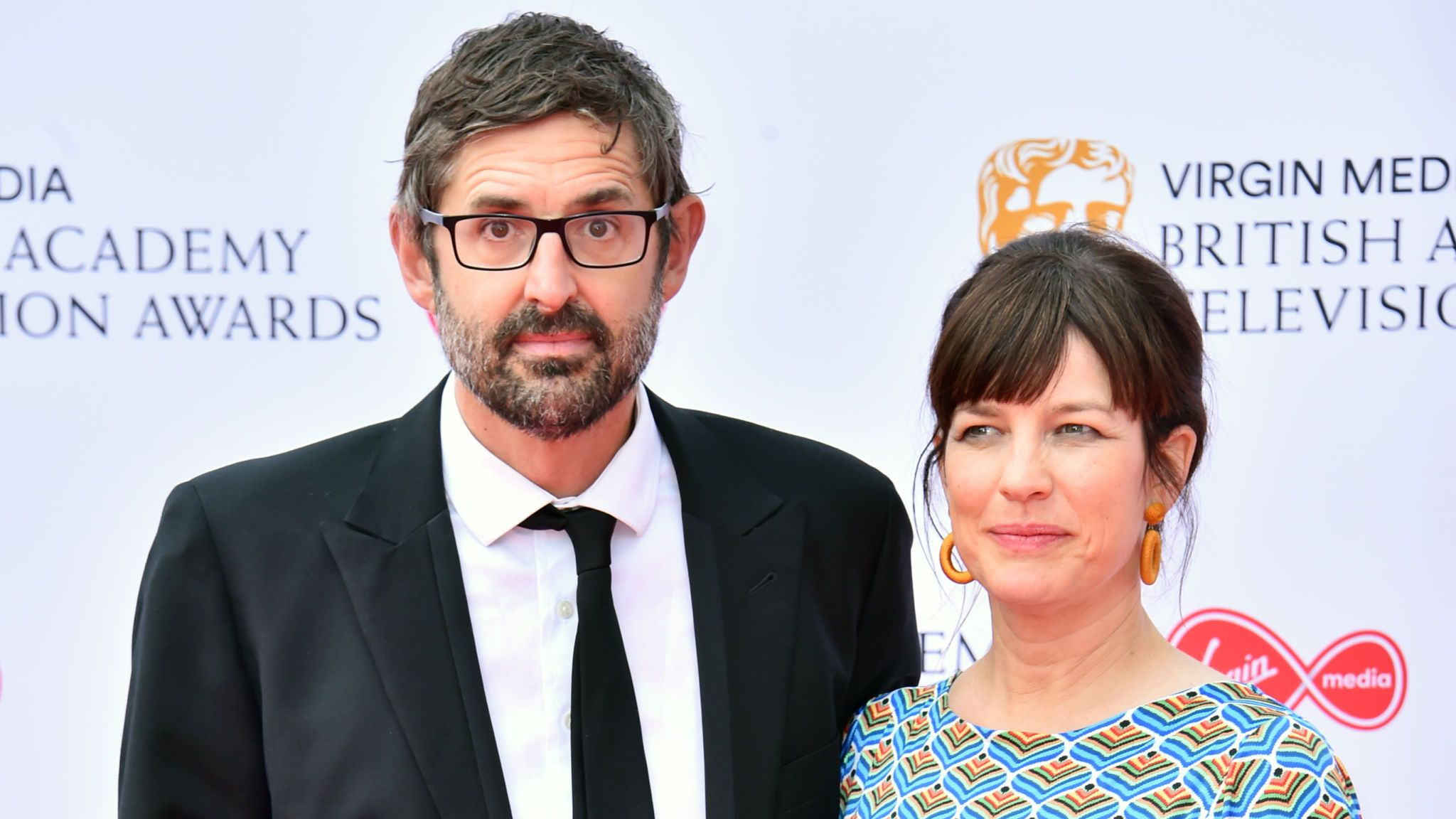 Louis Theroux and Nancy Strang attending the Virgin Media BAFTA TV awards, held at the Royal Festival Hall in London
