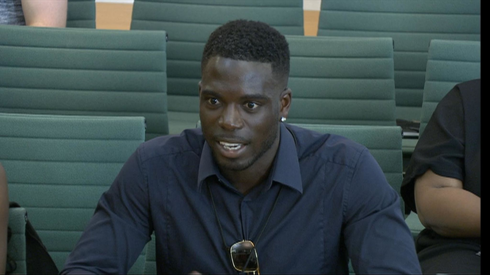 Love Island star Marcel Sommerville giving evidence in front of parliament.
