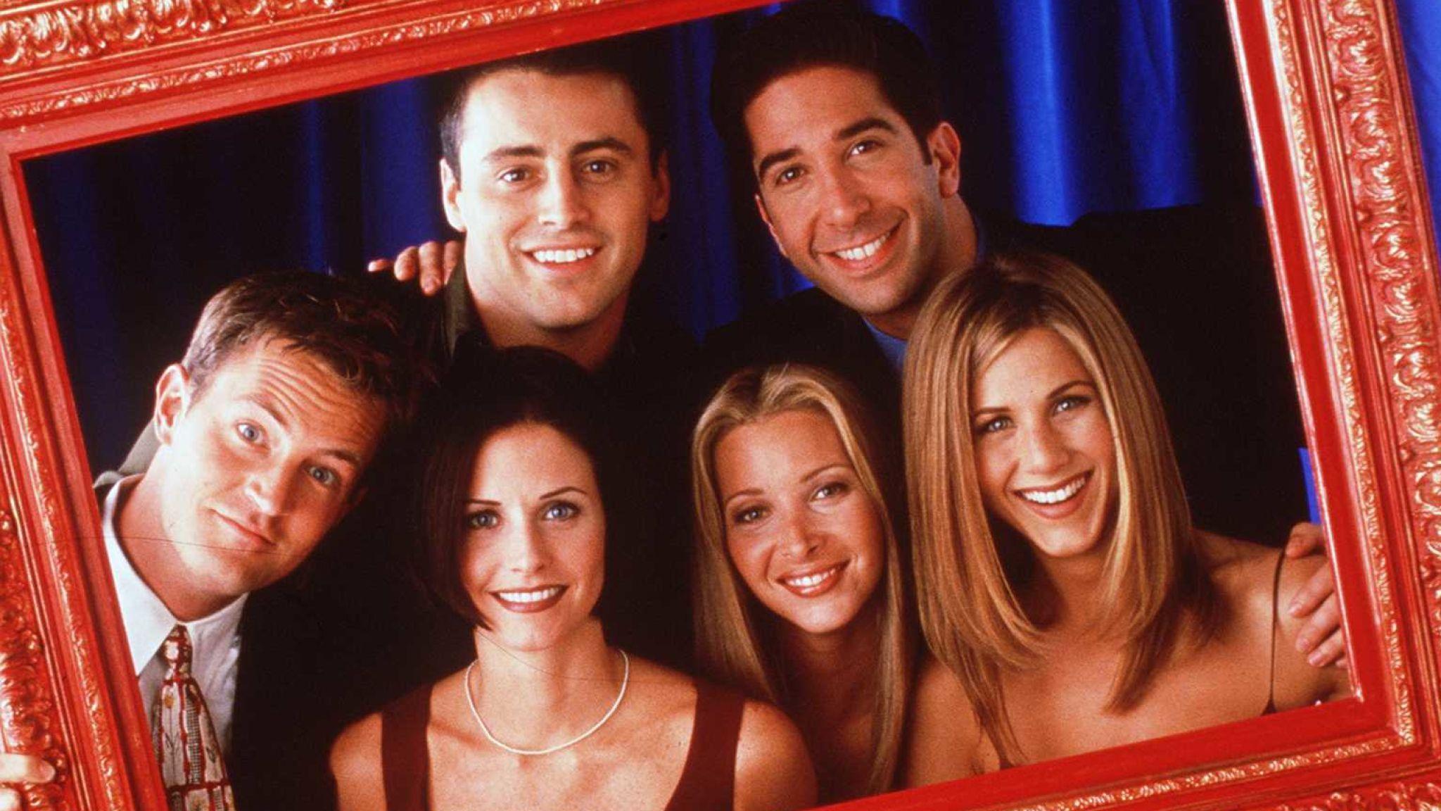 The cast of Friends, clockwise from top left: Matt LeBlanc (Joey), David Schwimmer (Ross), Jennifer Aniston (Rachel), Lisa Kudrow (Phoebe), Courteney Cox (Monica), Matthew Perry (Chandler)