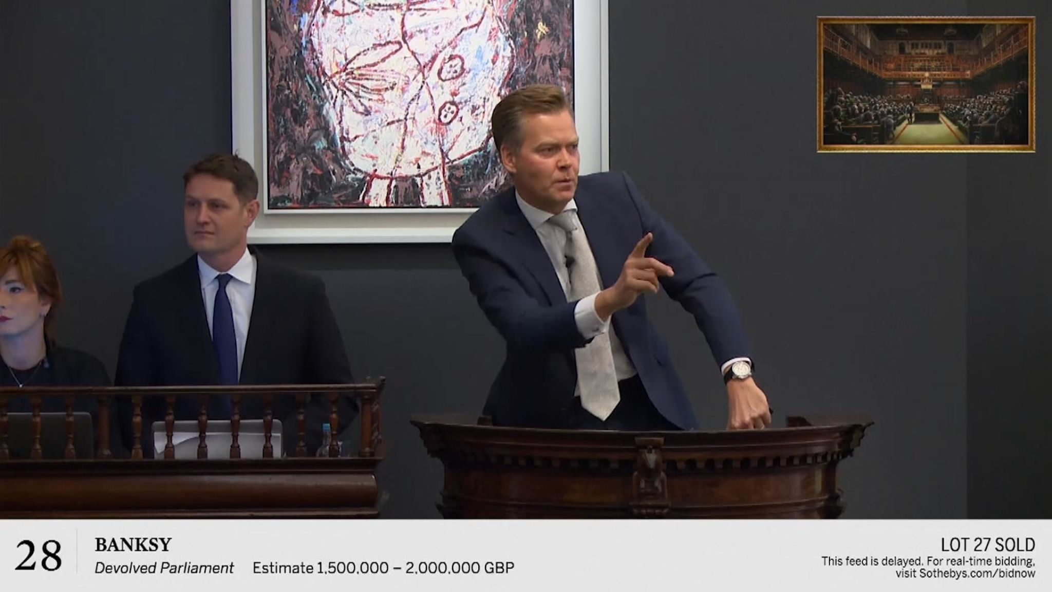 The auction house had expected it to sell 'Devolved Parliament' for between £1.5 ($1.85 million) and £2.5 million ($3.1 million)