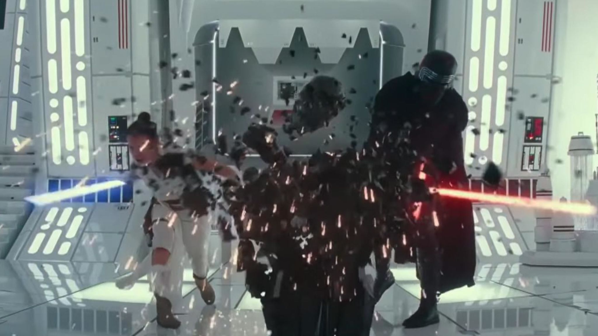 Rey and Kylo Ren team up to destroy what looks to be Darth Vader's iconic helmet