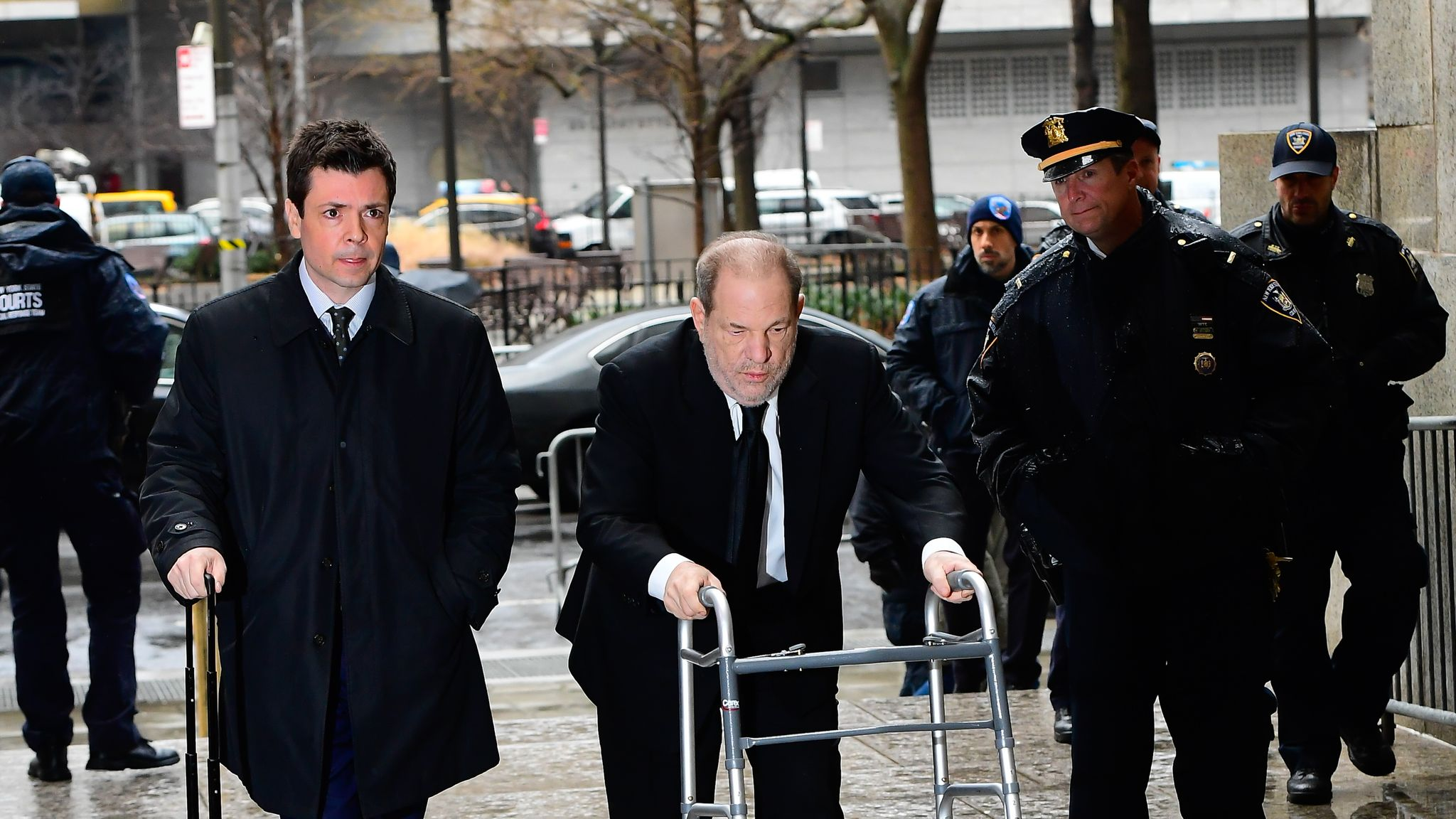 NEW YORK, NY - JANUARY 16: Harvey Weinstein arrived at Manhattan Criminal Court on January 16, 2020 in New York City. (Photo by Raymond Hall/GC Images)