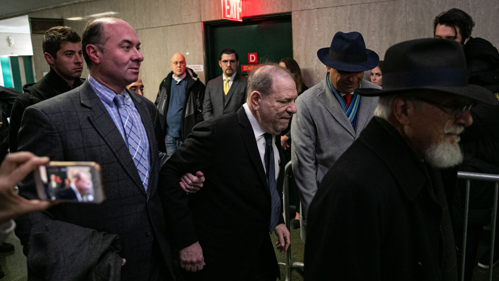 NEW YORK, NY - JANUARY 22: Harvey Weinstein arrives at New York City Criminal Court on January 22, 2020 in New York City. Weinstein, a movie producer whose alleged sexual misconduct helped spark the #MeToo movement, pleaded not-guilty on five counts of rape and sexual assault against two unnamed women and faces a possible life sentence in prison. (Photo by Jeenah Moon/Getty Images)