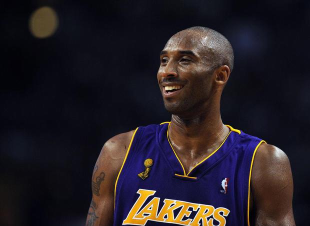 Los Angeles Lakers' Kobe Bryant reacts d