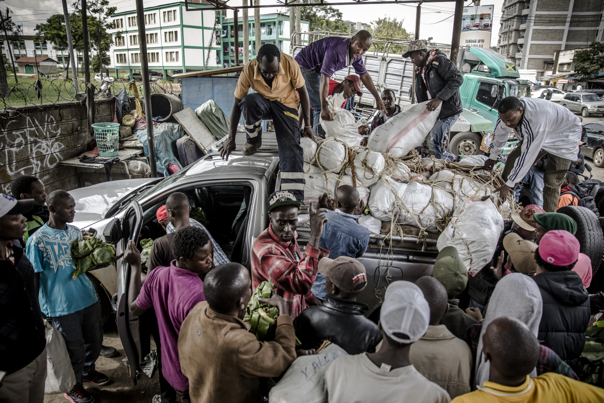 At the end of the drive, miraa is unloaded at a market in Nairobi. MUST CREDIT: Photo for The Washington Post by Luis Tato