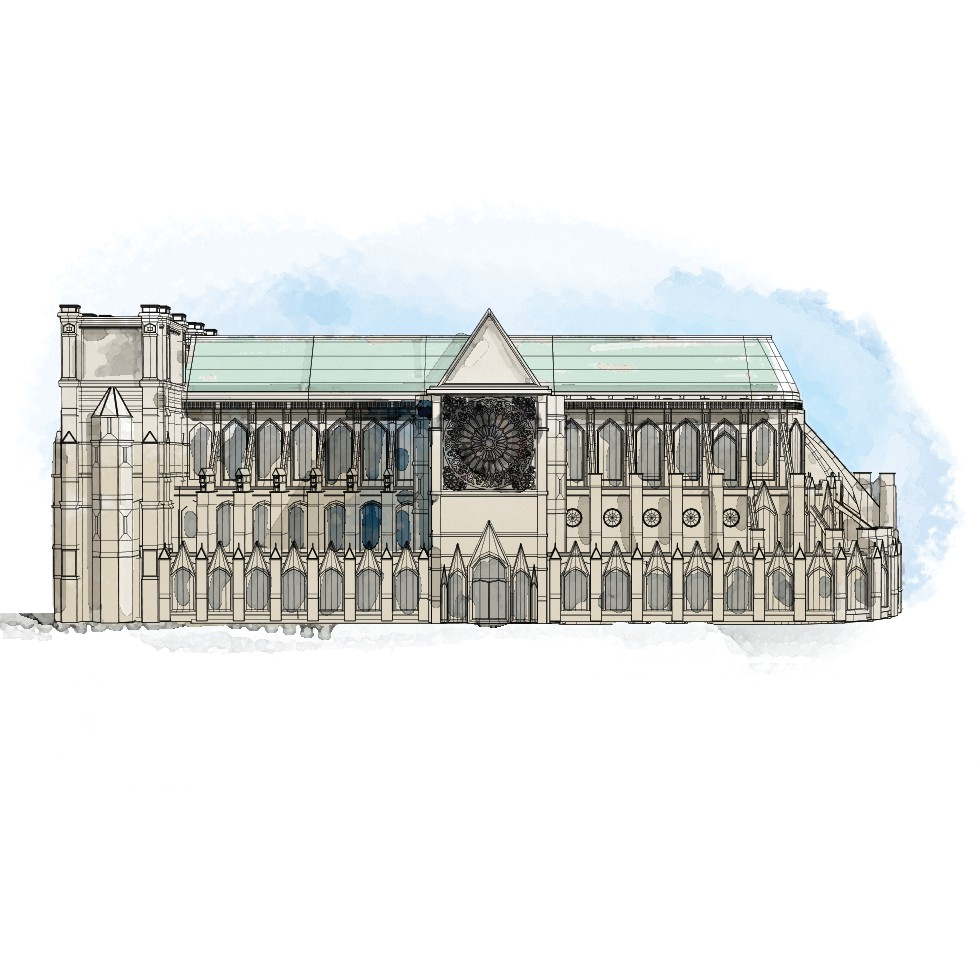 By 1220, the basic form of the early cathedral was essentially finished. MUST CREDIT: Washington Post illustration by Aaron Steckelberg