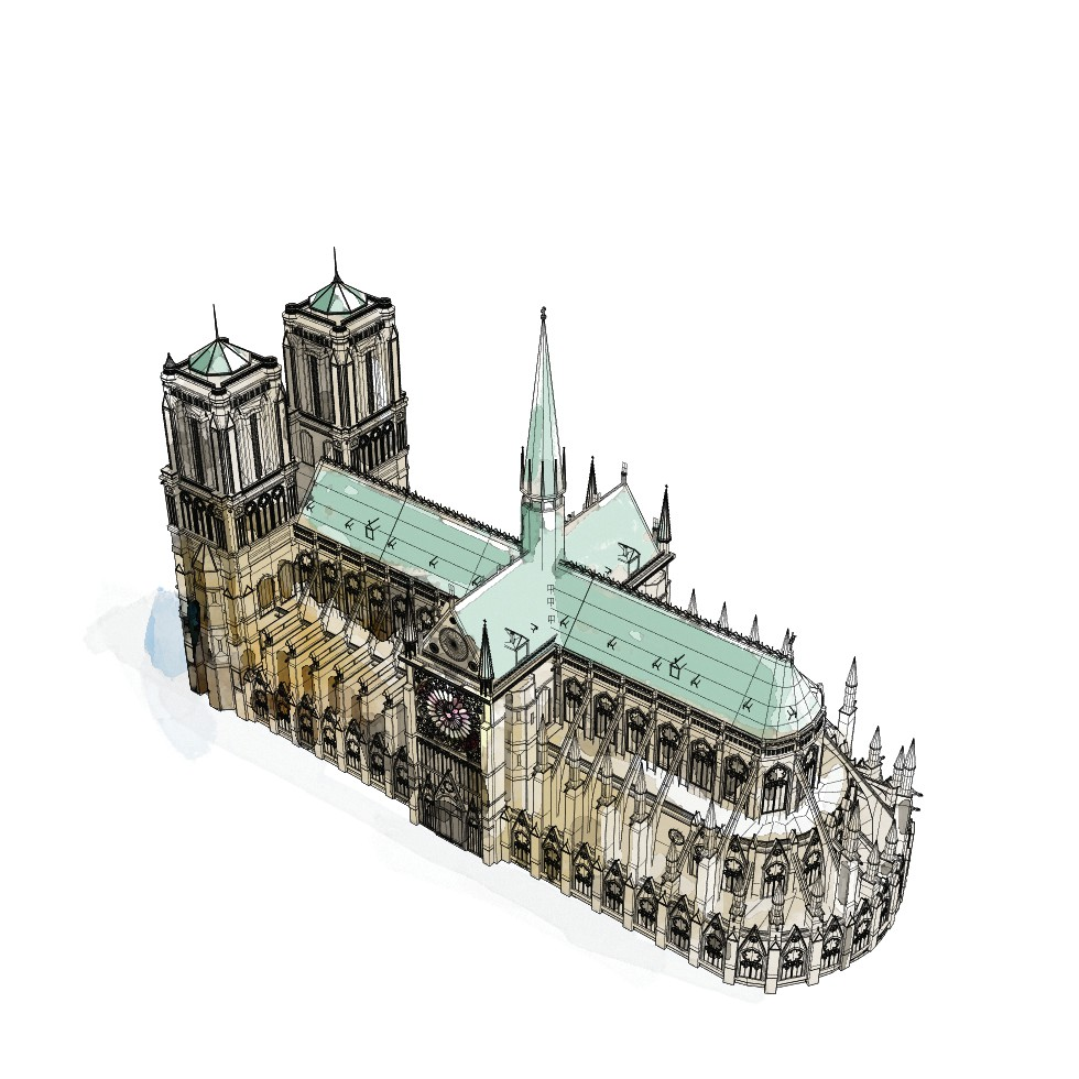 Beginning in the mid-1220s, much of Notre Dame was remade to be more in line with contemporary architectural tastes. The two western towers were finished and a spire was added to the crossing of the nave and transept. The last major phase of the original construction ended in the mid-14th century, more than 150 years after it had begun. By the late 18th century, the original spire was removed before it could collapse from decay. The cathedral remained without a spire until 1859, when one designed by Eugène Emmanuel Viollet-le-Duc was added as part of an extensive 20-year renovation. Over the next 160 years, alterations and repairs continued to be made. MUST CREDIT: Washington Post illustration by Aaron Steckelberg