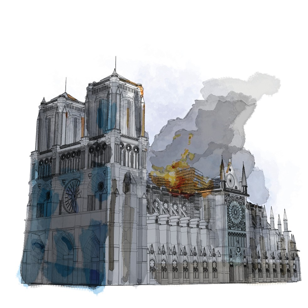 On April 15, a massive fire broke out. Over several hours, flames raged and eventually destroyed Notre Dame's spire, roof and timbers within. An official cause has still not been determined, although early speculation centered on an electrical source, or a discarded cigarette. MUST CREDIT: Washington Post illustration by Aaron Steckelberg
