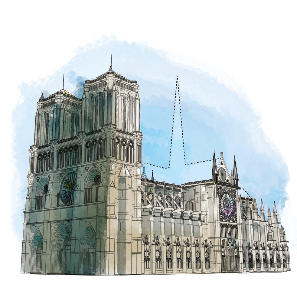 After the fire, debate began almost immediately about the cathedral's restoration. Should it be returned to its exact pre-fire configuration? Should the 19th-century spire be rebuilt? Or should it be updated for the 21st century and beyond? MUST CREDIT: Washington Post illustration by Aaron Steckelberg