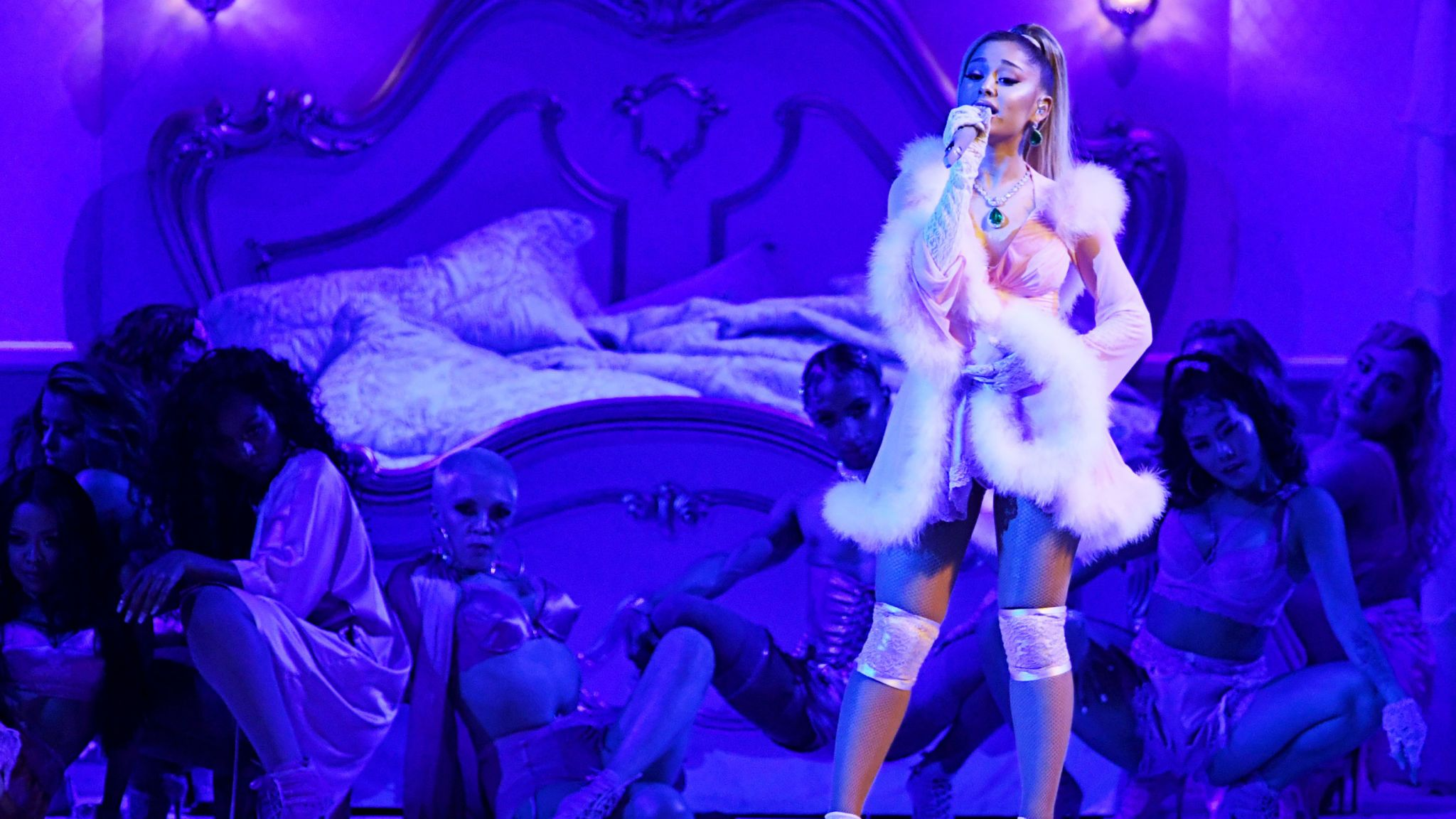 Ariana Grande on stage at the Grammys
