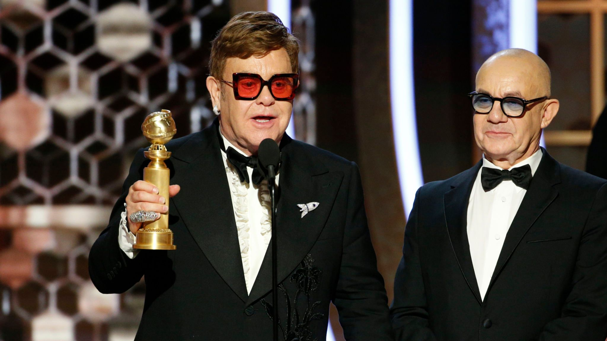 Golden Globes 2020 winner Elton John on stage