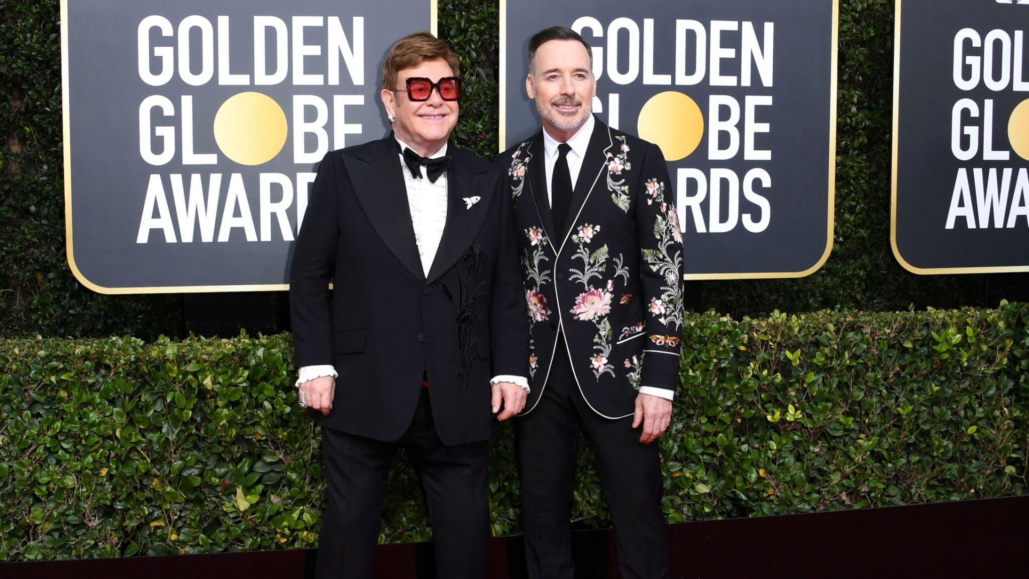 Elton John and David Furnish at the Golden Globes 2020