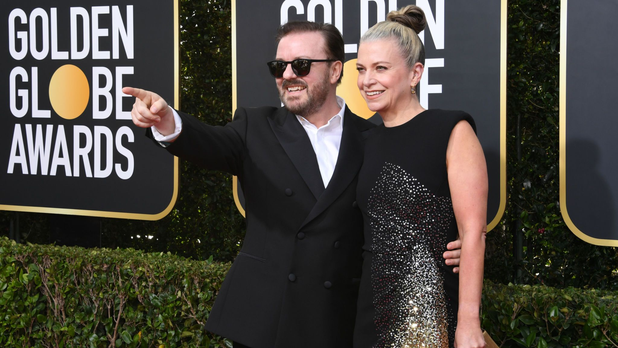 Host Ricky Gervais and Jane Fallon at the Golden Globes 2020