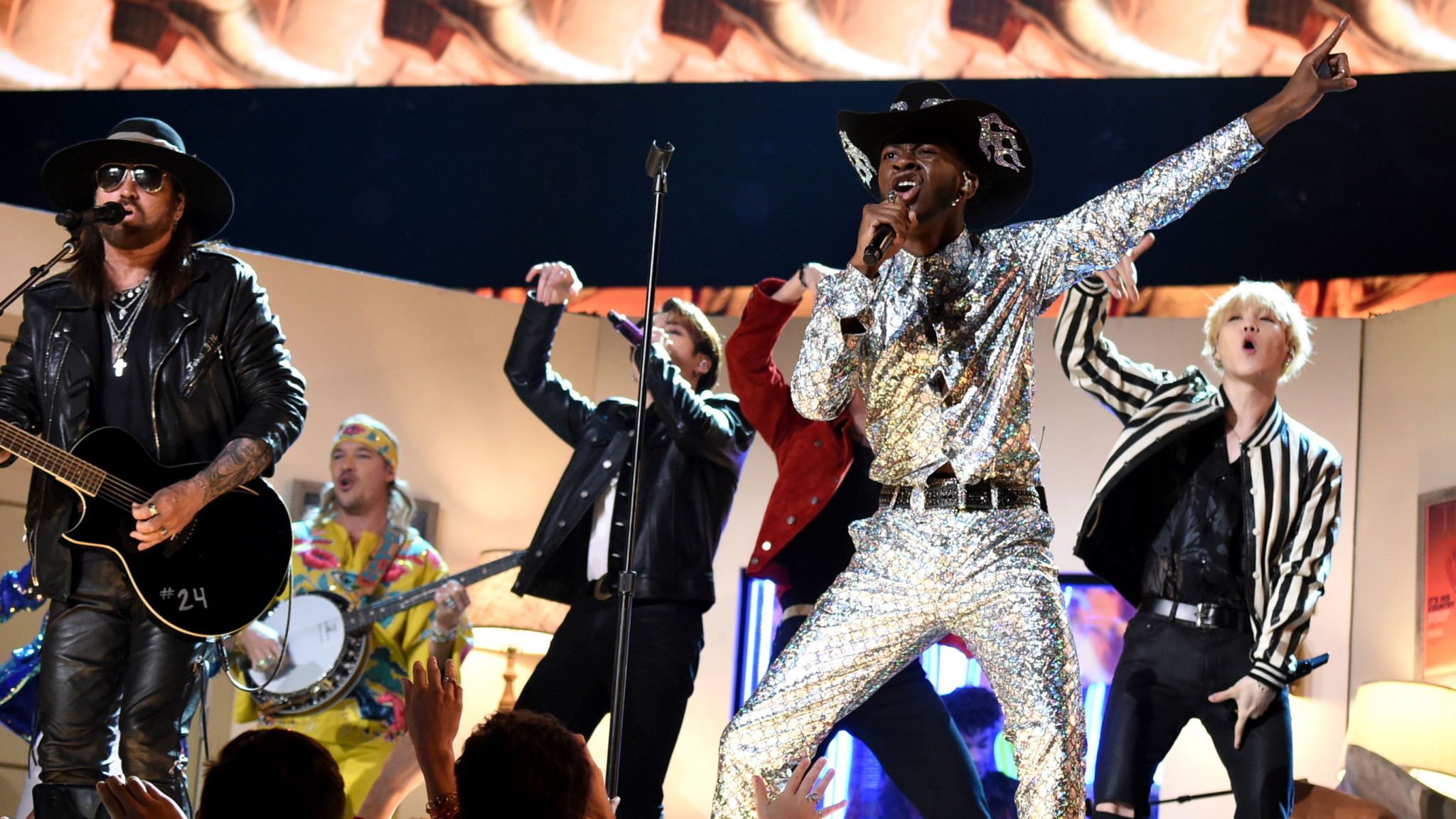 Billy Ray Cyrus, Lil Nas X, and BTS perform at the 62nd Annual GRAMMY Awards on January 26, 2020 in Los Angeles, California