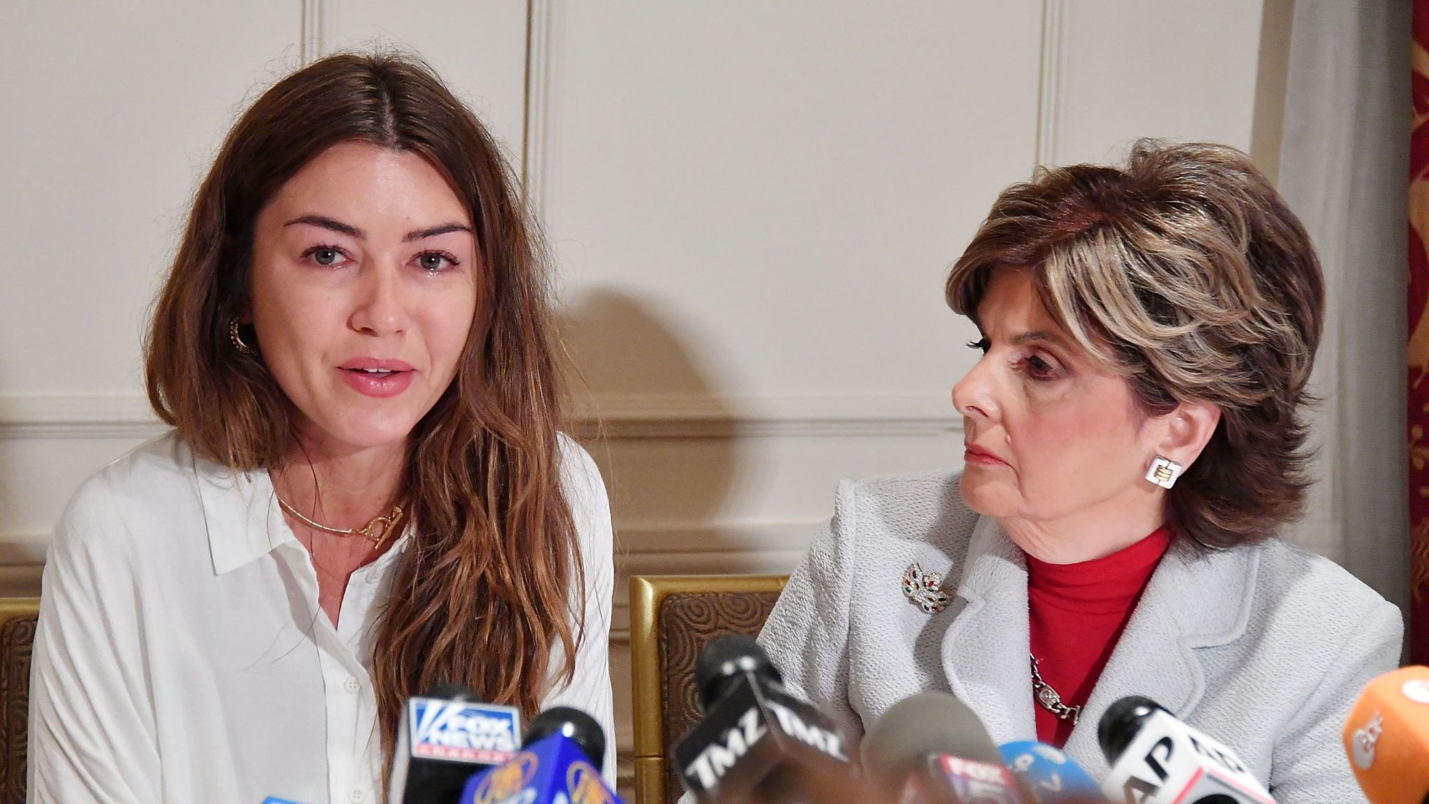 Mimi Haleyi (left) spoke at a news conference with lawyer Gloria Allred