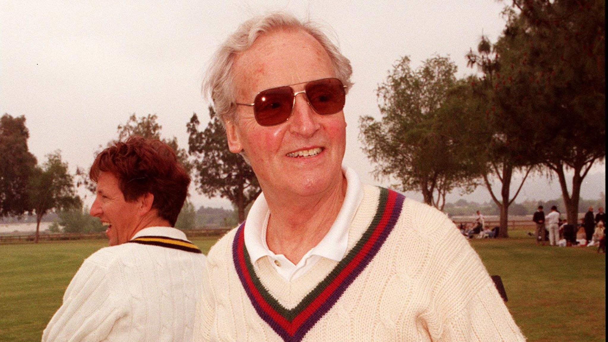 Woodley park, CA. Game Show host Nicholas Parsons during the celebrity cricket match held in aid of the