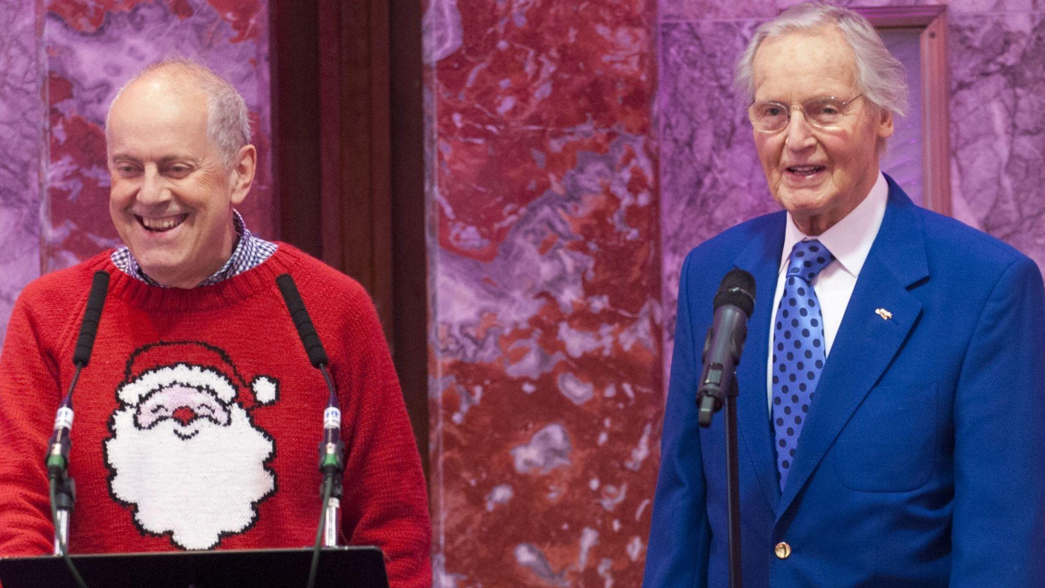 Gyles Brandreth and Nicholas Parsons in 2014. Pic: David Parker/ANL/Shutterstock