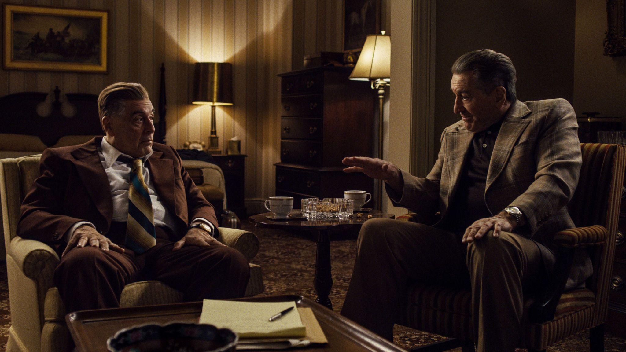Jimmy Hoffa (Al Pacino) and Frank Sheeran (Robert De Niro) in Martin Scorsese's The Irishman. Pic: Netflix
