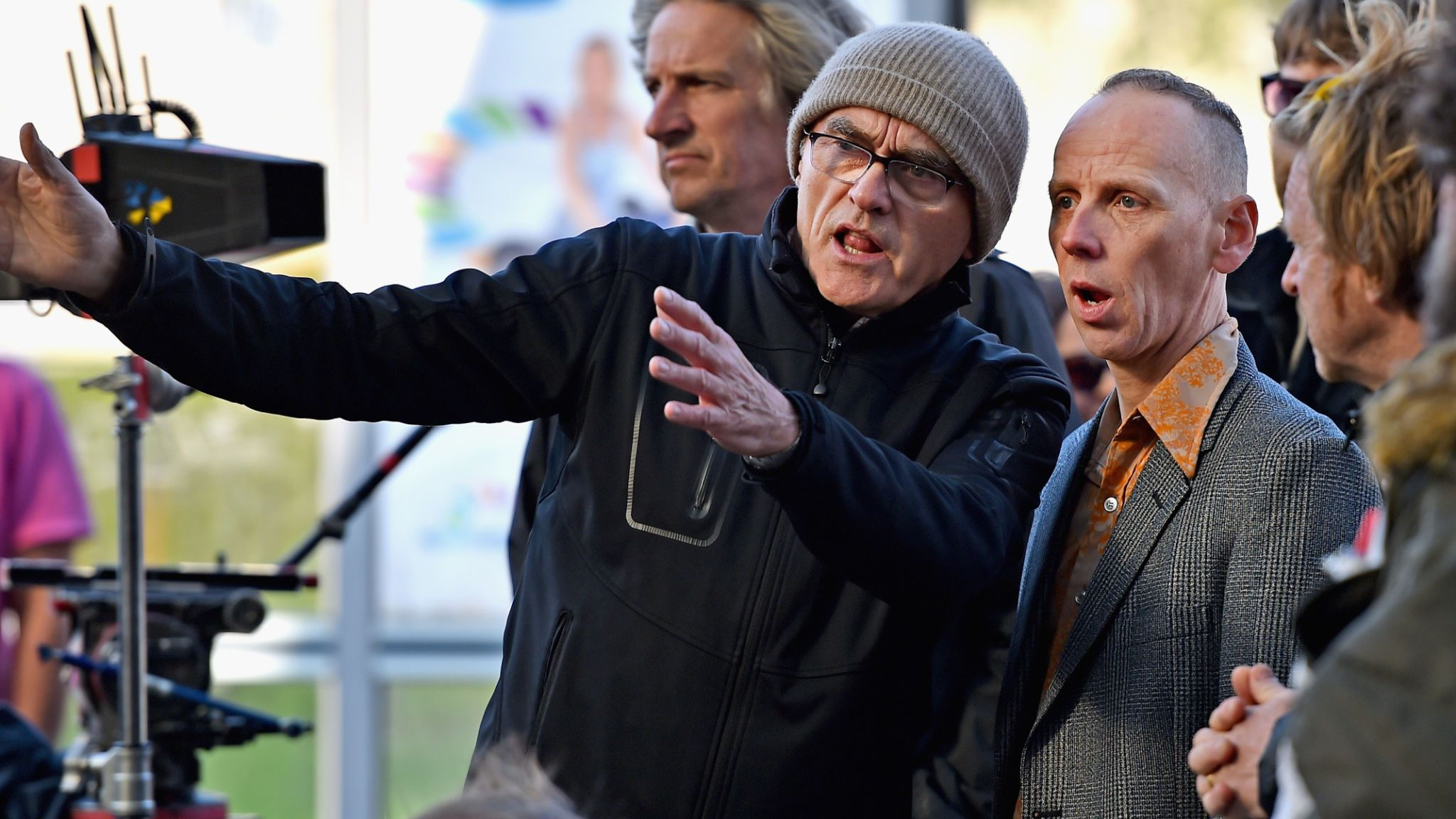 Director Danny Boyle and actor Ewen Bremner on the set of the Trainspotting sequel on May 11 2016 in Edinburgh, Scotland. The long awaited Trainspotting 2 is being filmed in Edinburgh and Glasgow, 20 years after the original was released it will also see the cast from the first film returning including Ewan McGregor, Jonny Lee Miller and Robert Carlyle