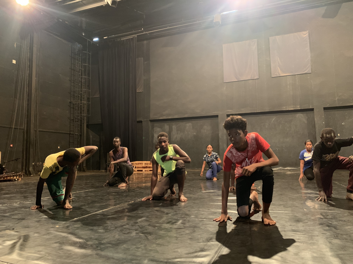 Amiri Ag Abdoulaye, in red, rehearses at the studio in Ouagadougou, Burkina Faso. MUST CREDIT: Washington Post photo by Danielle Paquette.
