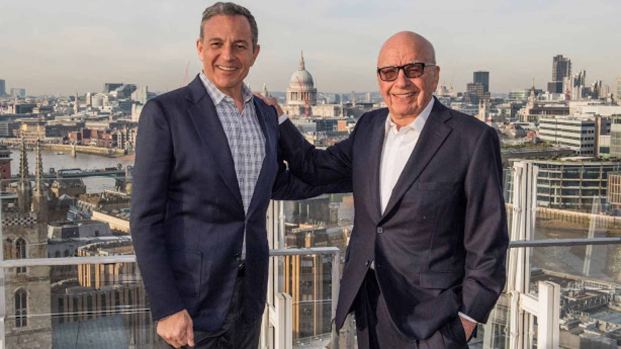 Bob Iger and Rupert Murdoch are pictured together after agreeing terms of the Fox asset sale to Disney. Pic: Disney