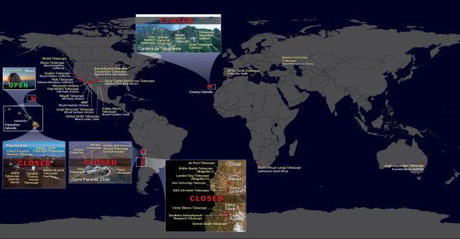 map of telescope closures