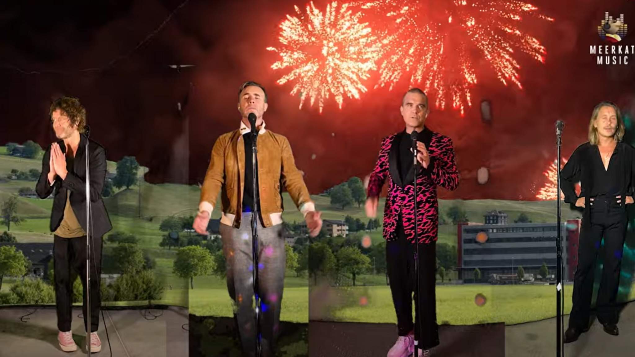 The group were backed by fireworks for part of the concert. Pic: Youtube/ Comparethemeerkat
