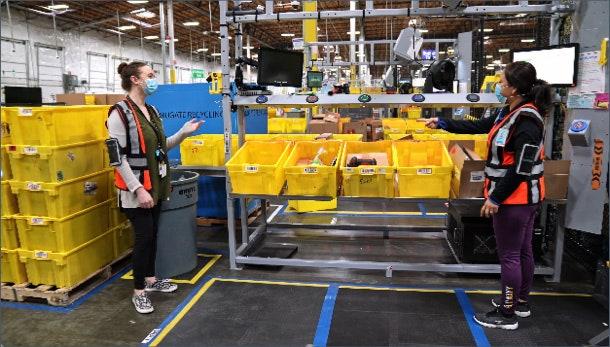 two amazon employees working