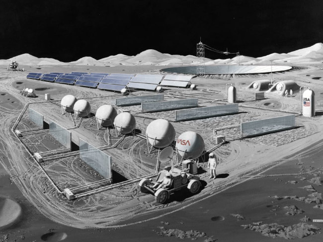 NASA telescope on the moon base