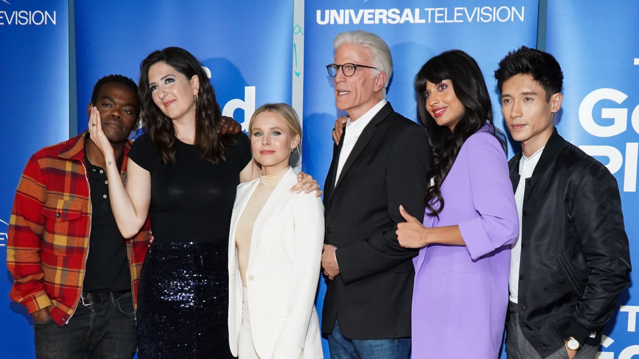 """LOS ANGELES, CALIFORNIA - JUNE 17: (L-R) Marc Evan Jackson, William Jackson Harper, D'Arcy Carden, Kristen Bell, Ted Danson, Jameela Jamil and Manny Jacinto attend Universal Television's """"The Good Place"""" FYC at UCB Sunset Theater on June 17, 2019 in Los Angeles, California. (Photo by Rachel Luna/Getty Images)"""