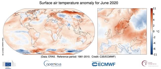 Temperature Anomalies for June 2020