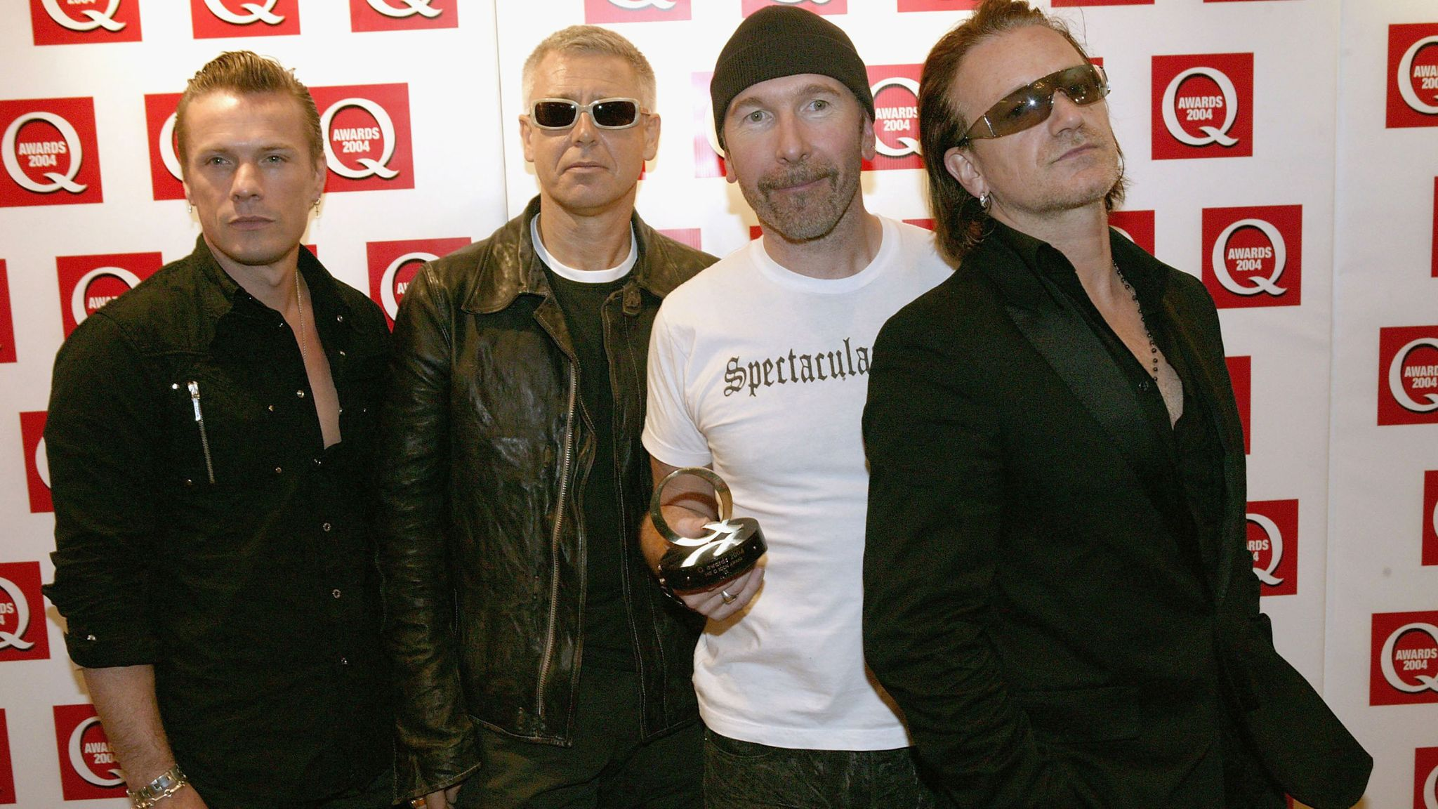 The Irish rock band U2 is seen at the Q Awards in 2004