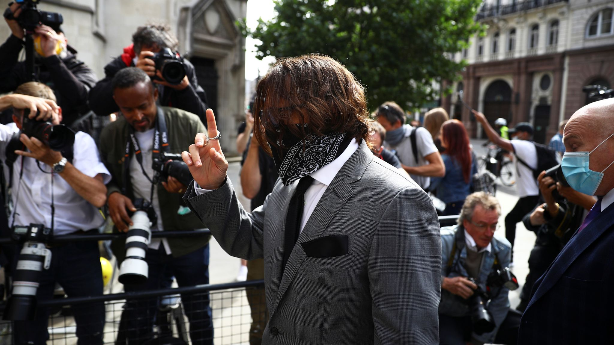 Johnny Depp arrives at the High Court on 13 July