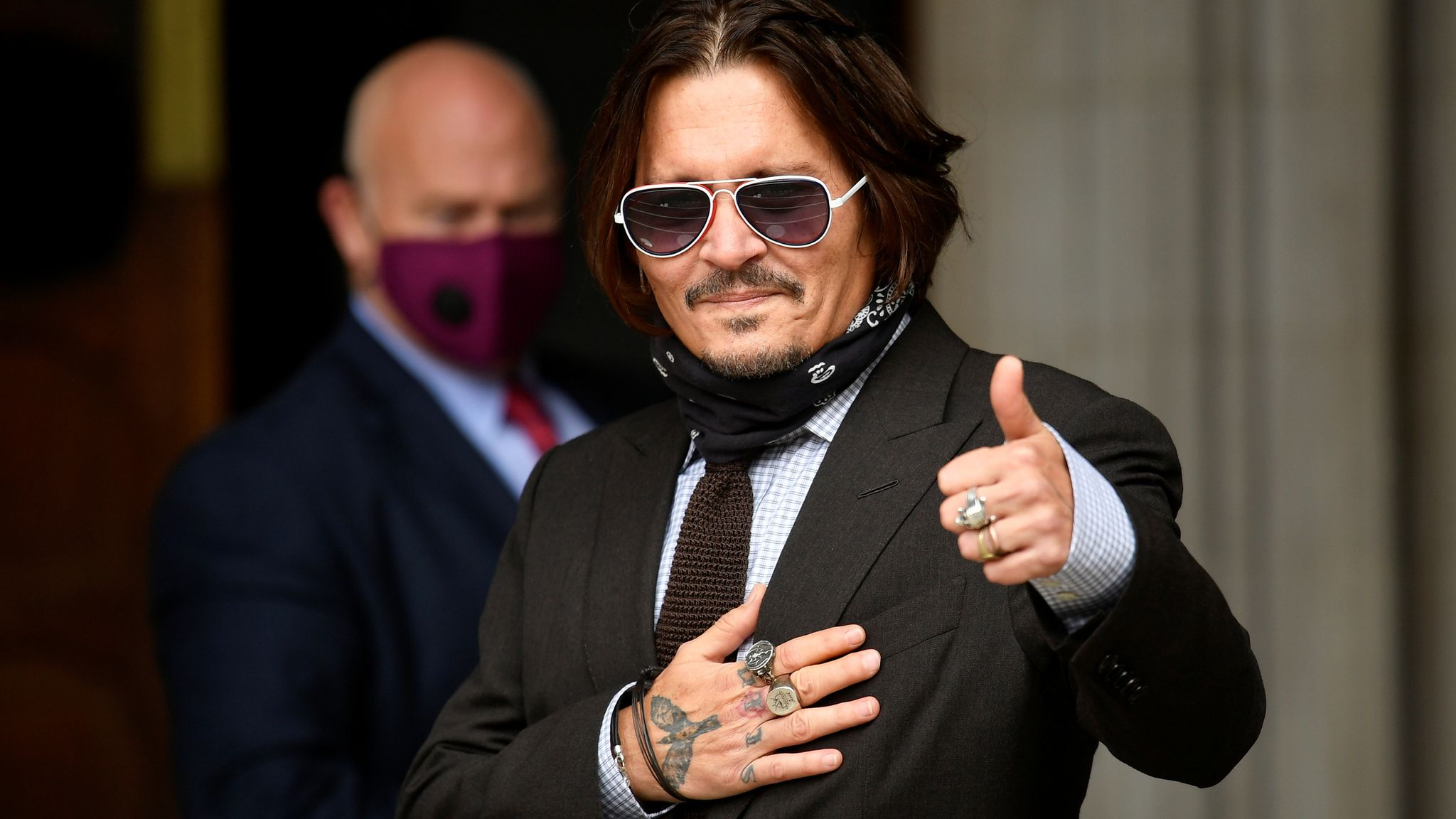 Johnny Depp arrives at the High Court on day seven of his libel action against the publishers of The Sun