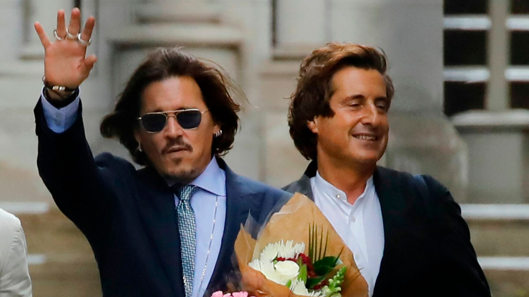 Depp was last in court on Friday, but is expected today for the last day of the trial. Pictured with his lawyer David Sherborne