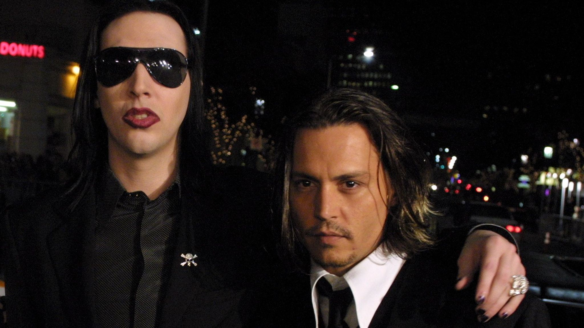 Marilyn Manson and Johnny Depp in 2001. Pic: Bei/Shutterstock Premiere of 'From Hell'