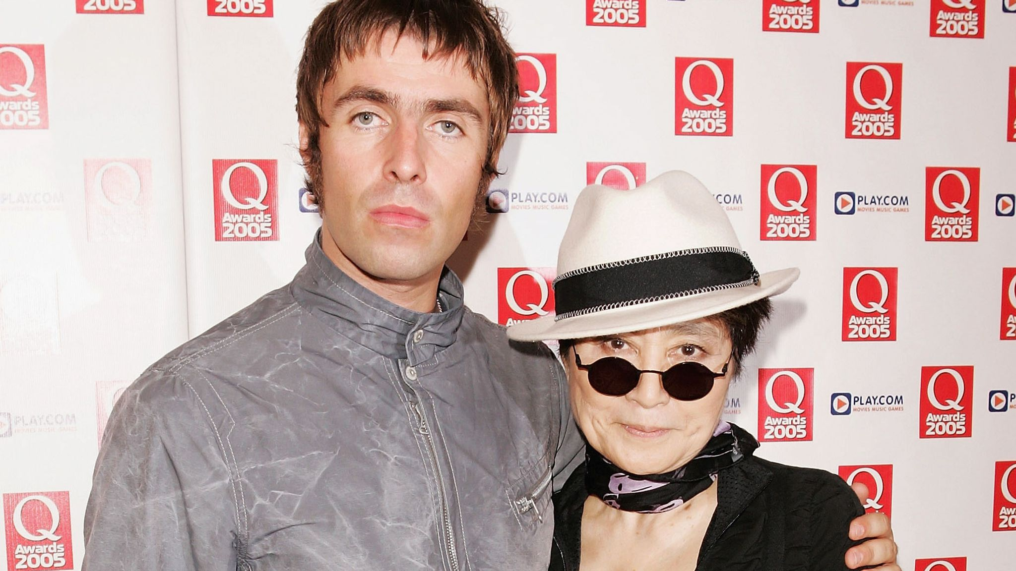 Oasis's Liam Gallagher poses with John Lennon's widow Yoko Ono at the Q Awards in 2005