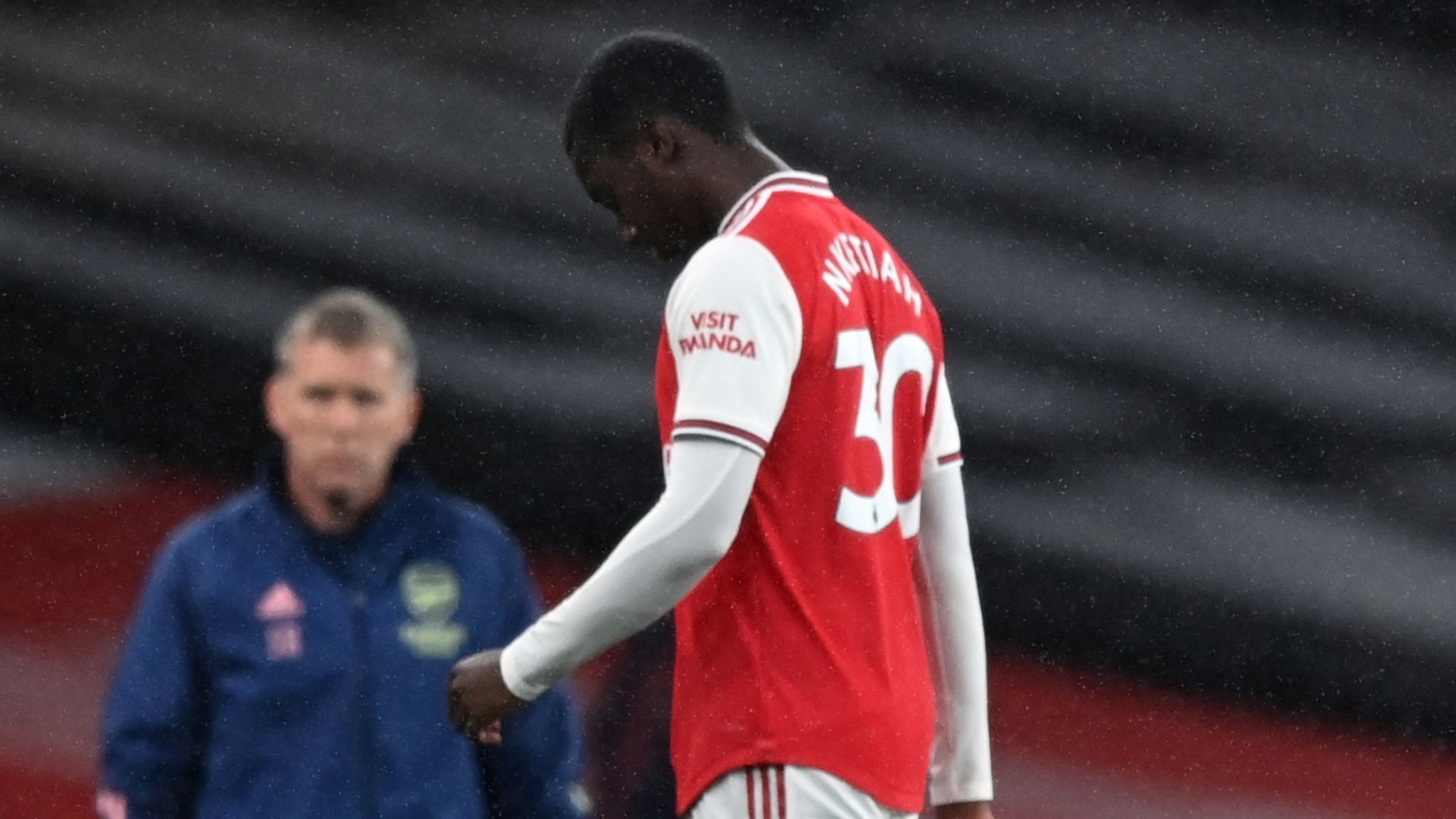Arsenal's Eddie Nketiah after being sent off against Leicester
