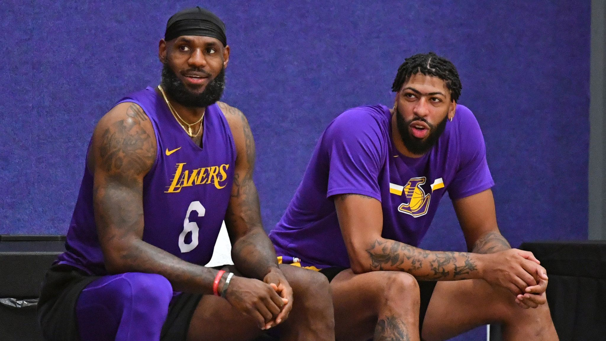 LeBron James and Anthony Davis enjoy a break at Lakers practice in Orlando