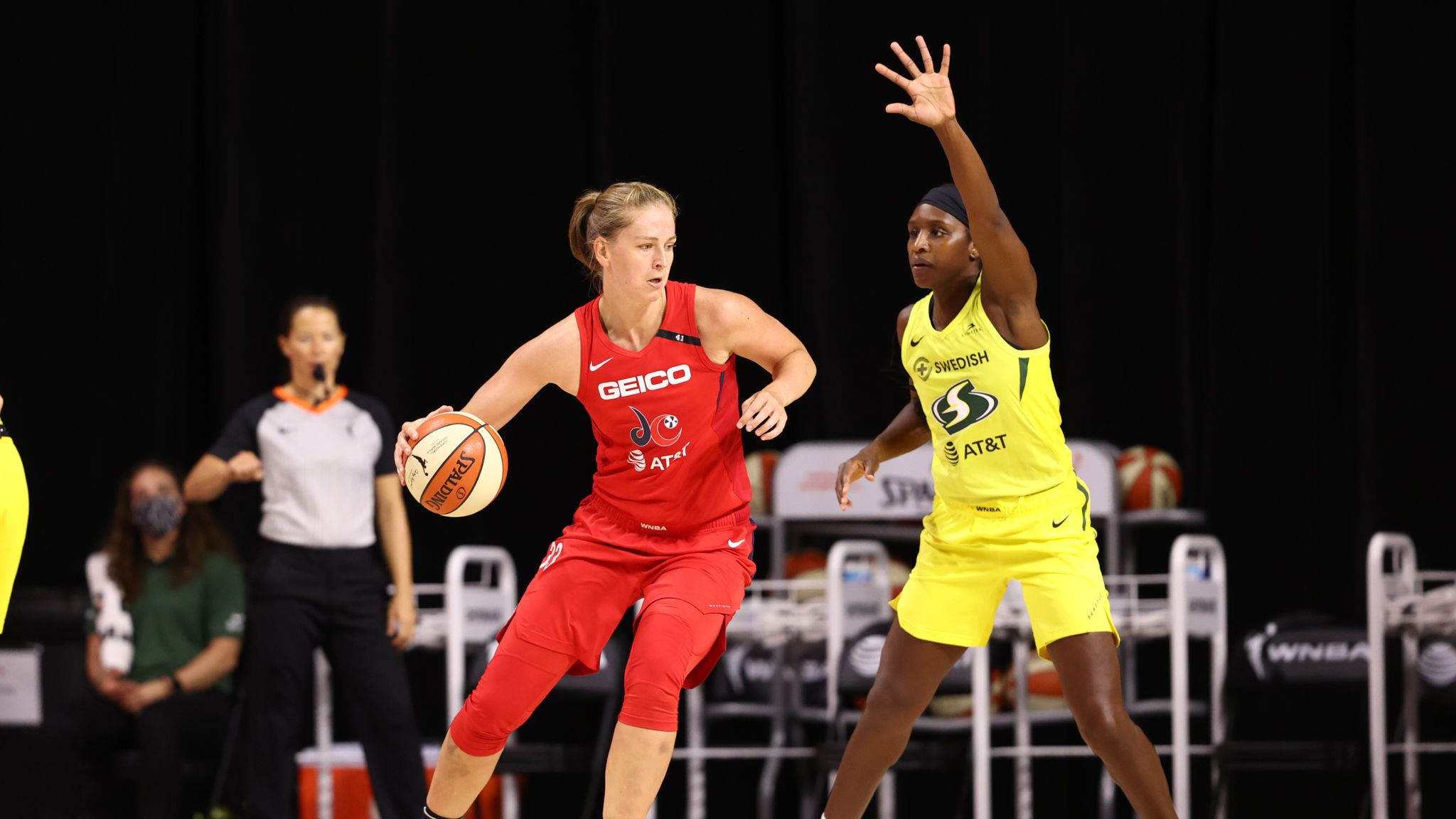 Emma Meesseman #33 of the Washington Mystics drives to the basket against the Seattle Storm on July 30, 2020 at Feld Entertainment Center in Palmetto, Florida.