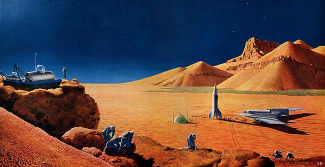 """Exploring Mars"" - Chesley Bonestell"