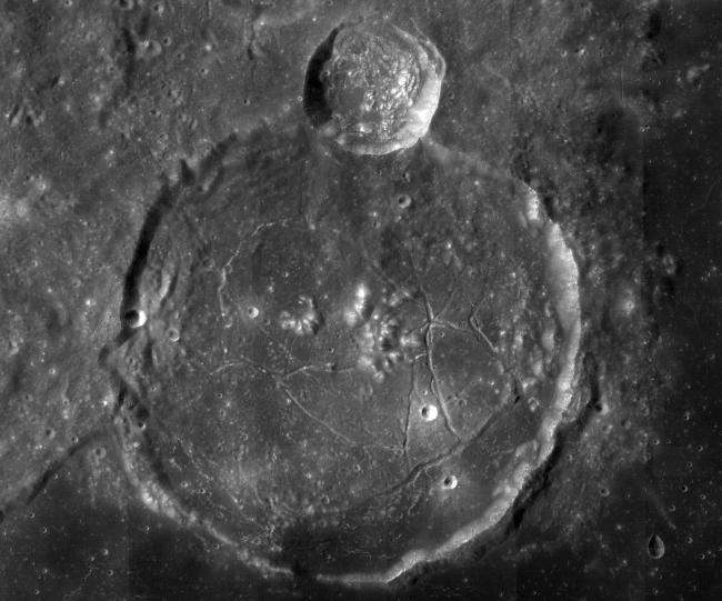 Gassendi, a 110-kilometer-wide lunar impact crater, was a possible landing site for Apollo 18. (Credit: NASA/GSFC/ASU)