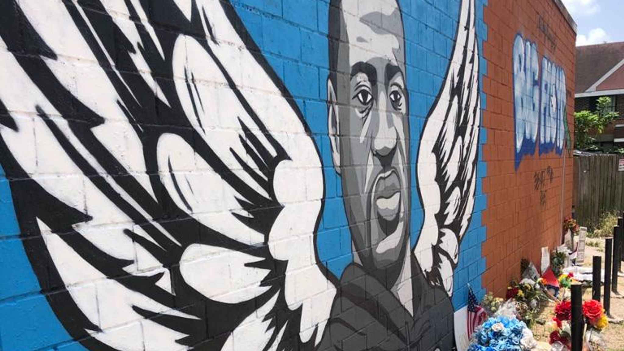 A graffiti memorial to George Floyd, who grew up in Houston