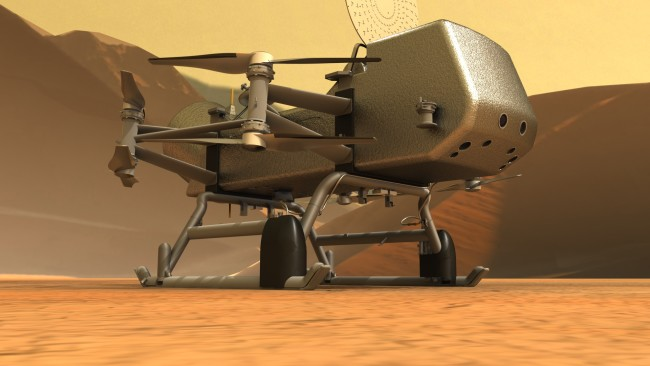 Dragonfly as it will appear after landing on Titan in 2034. The 450-kilogram flyer will sample the surface through its feet each time it touches down. (Credit: NASA/JHU-APL)