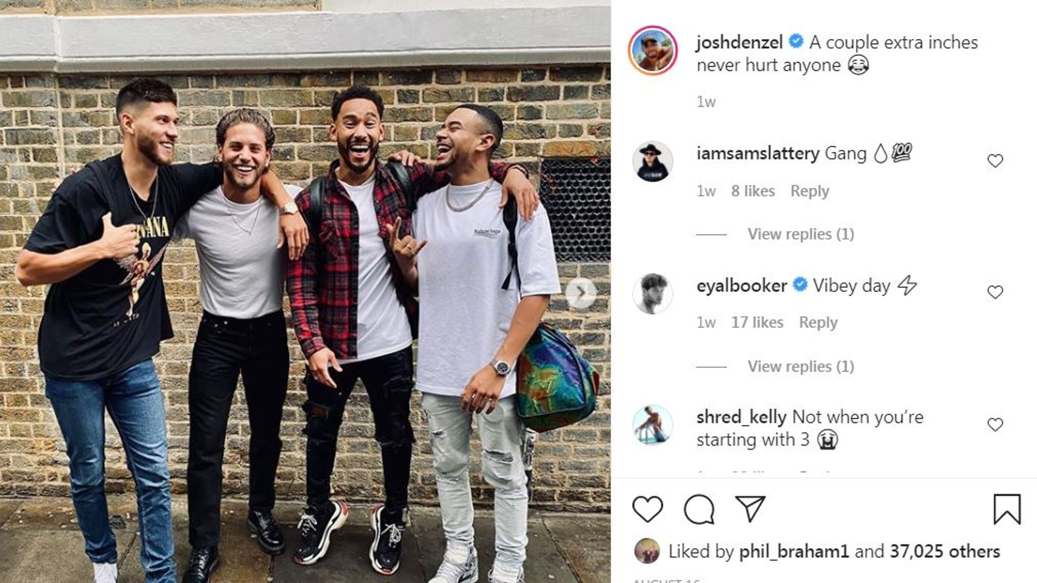 The reality TV star's next post was him hugging friends and saying 'a couple extra inches never hurt anyone'. Pic: Instagram/Josh Denzel